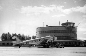 "Aero's DC-3 ""Lokki"" (Gull) at Malmi Airport."